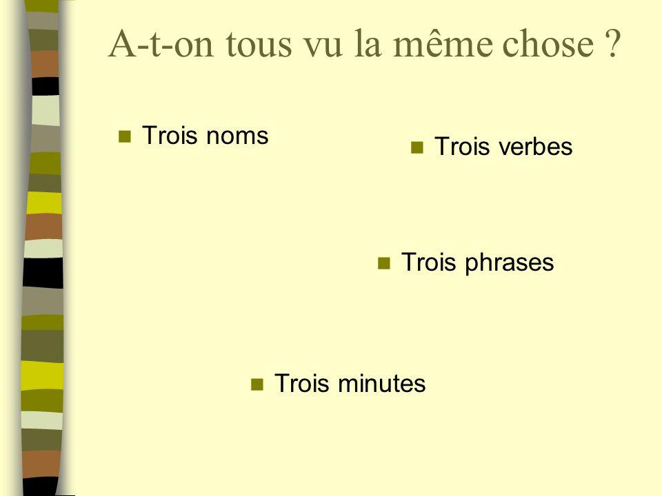 A-t-on tous vu la même chose ? Trois noms Trois verbes Trois phrases Trois minutes Trois adjectifs