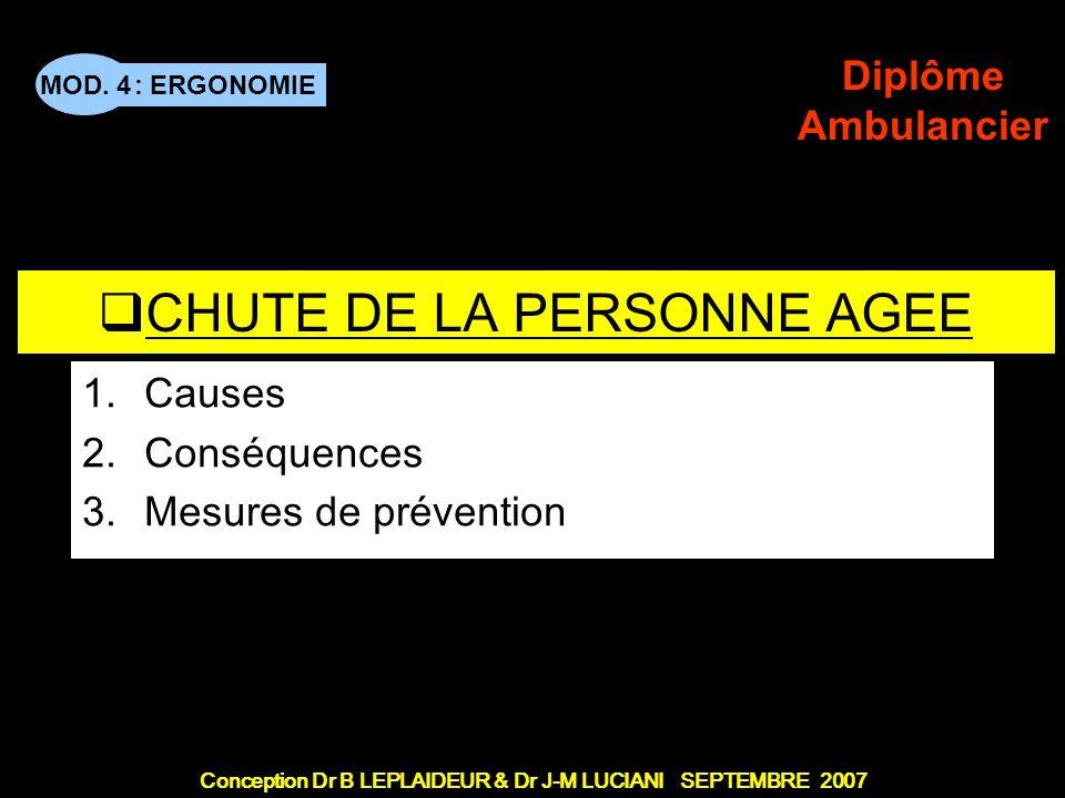 : ERGONOMIE Conception Dr B LEPLAIDEUR & Dr J-M LUCIANI SEPTEMBRE 2007 MOD. 4 Diplôme Ambulancier TITRE DE CHAPITRE CHUTE DE LA PERSONNE AGEE 1.Causes