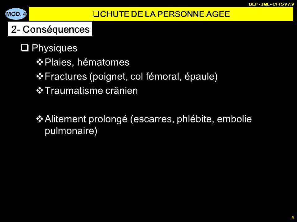 MOD. 4 BLP - JML - CFTS v 7.9 4 Physiques Plaies, hématomes Fractures (poignet, col fémoral, épaule) Traumatisme crânien Alitement prolongé (escarres,