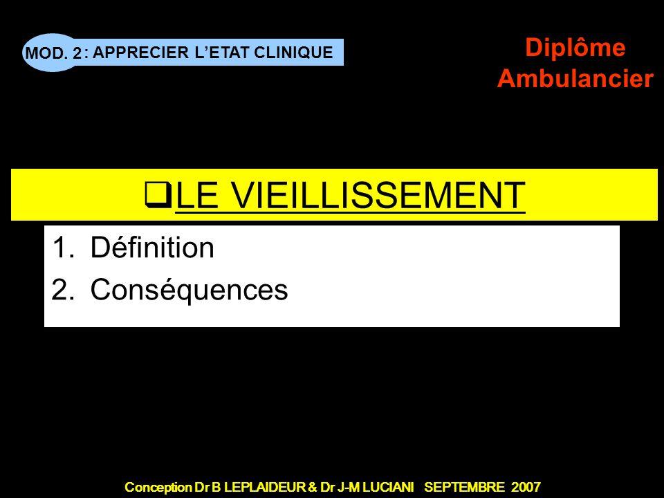 : APPRECIER LETAT CLINIQUE Conception Dr B LEPLAIDEUR & Dr J-M LUCIANI SEPTEMBRE 2007 MOD. 2 Diplôme Ambulancier TITRE DE CHAPITRE LE VIEILLISSEMENT 1
