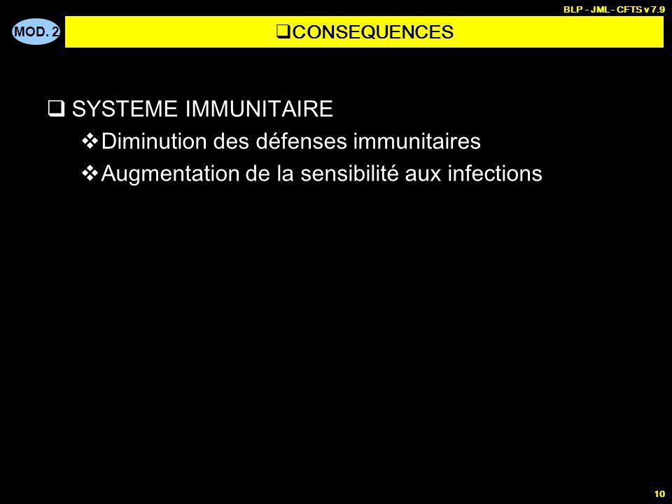 MOD. 2 BLP - JML - CFTS v 7.9 10 SYSTEME IMMUNITAIRE Diminution des défenses immunitaires Augmentation de la sensibilité aux infections CONSEQUENCES