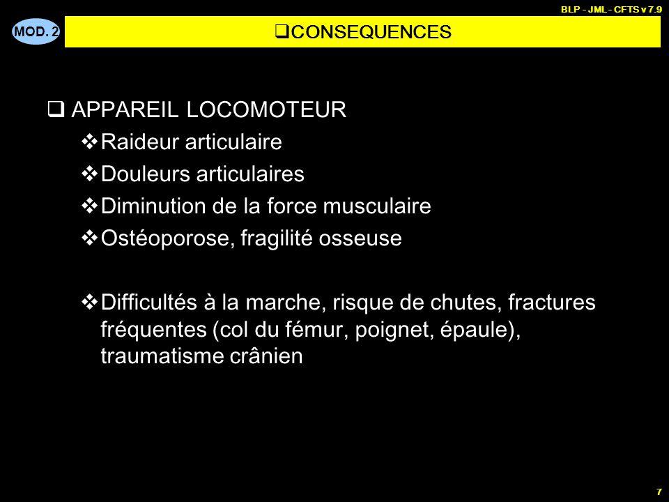 MOD. 2 BLP - JML - CFTS v 7.9 7 APPAREIL LOCOMOTEUR Raideur articulaire Douleurs articulaires Diminution de la force musculaire Ostéoporose, fragilité