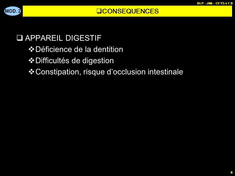 MOD. 2 BLP - JML - CFTS v 7.9 8 APPAREIL DIGESTIF Déficience de la dentition Difficultés de digestion Constipation, risque docclusion intestinale CONS