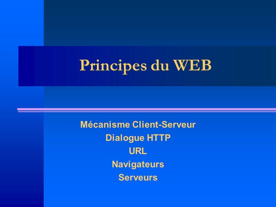 Principes du WEB Mécanisme Client-Serveur Dialogue HTTP URL Navigateurs Serveurs