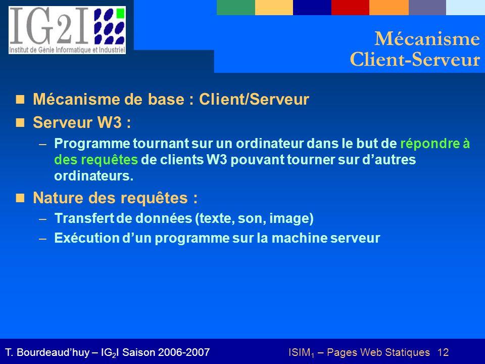 ISIM 1 – Pages Web Statiques 12T. Bourdeaudhuy – IG 2 I Saison 2006-2007 Mécanisme Client-Serveur Mécanisme de base : Client/Serveur Serveur W3 : –Pro