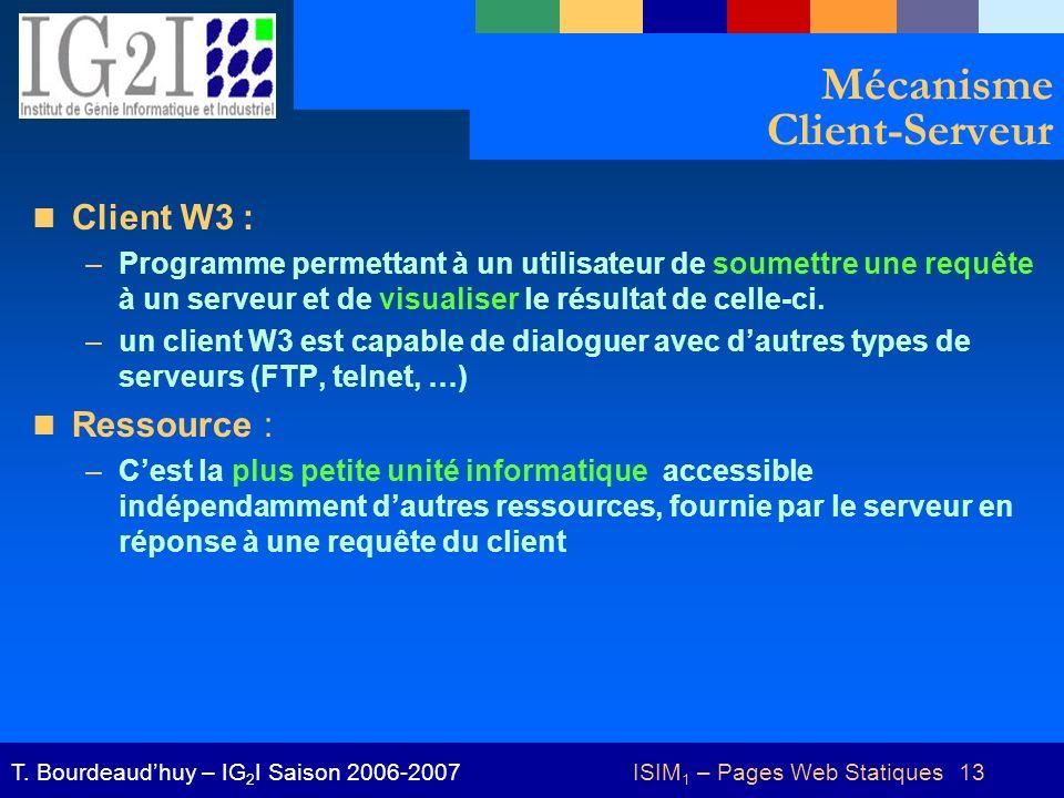 ISIM 1 – Pages Web Statiques 13T. Bourdeaudhuy – IG 2 I Saison 2006-2007 Mécanisme Client-Serveur Client W3 : –Programme permettant à un utilisateur d
