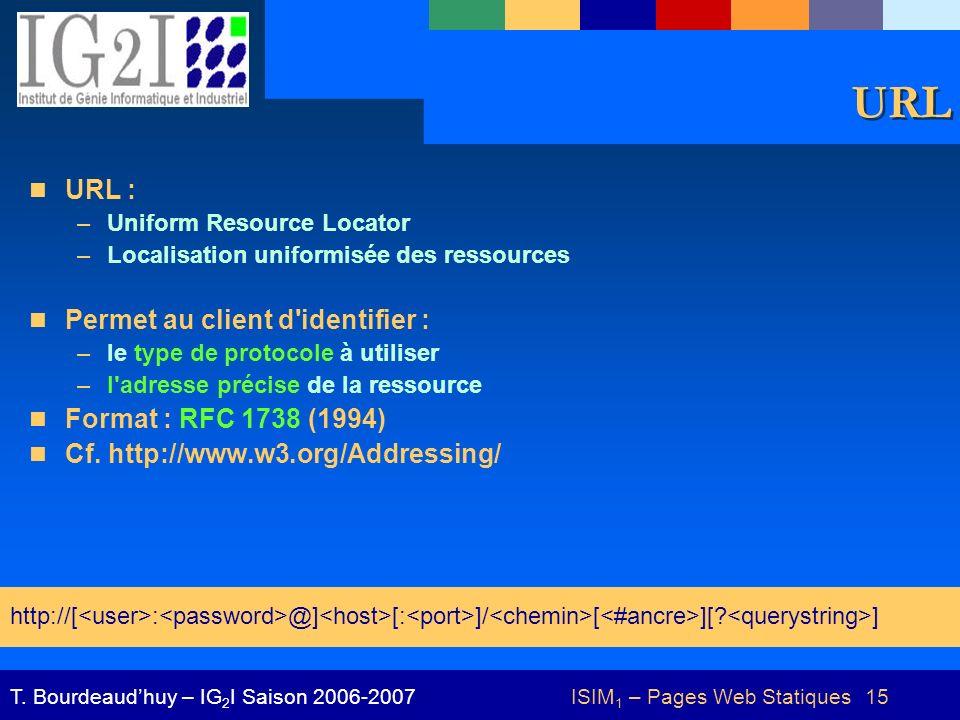 ISIM 1 – Pages Web Statiques 15T. Bourdeaudhuy – IG 2 I Saison 2006-2007 URL URL : –Uniform Resource Locator –Localisation uniformisée des ressources