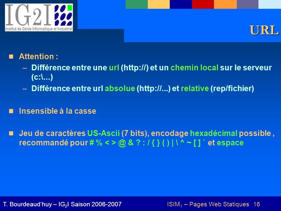 ISIM 1 – Pages Web Statiques 16T. Bourdeaudhuy – IG 2 I Saison 2006-2007 URL Attention : –Différence entre une url (http://) et un chemin local sur le