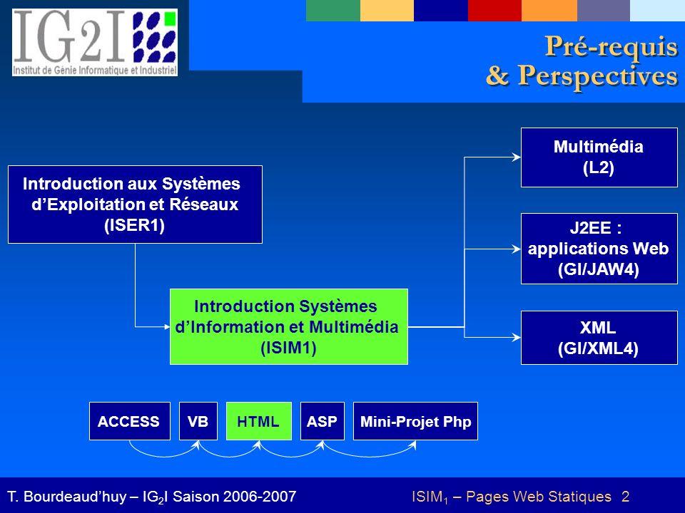ISIM 1 – Pages Web Statiques 2T. Bourdeaudhuy – IG 2 I Saison 2006-2007 Pré-requis & Perspectives Introduction aux Systèmes dExploitation et Réseaux (