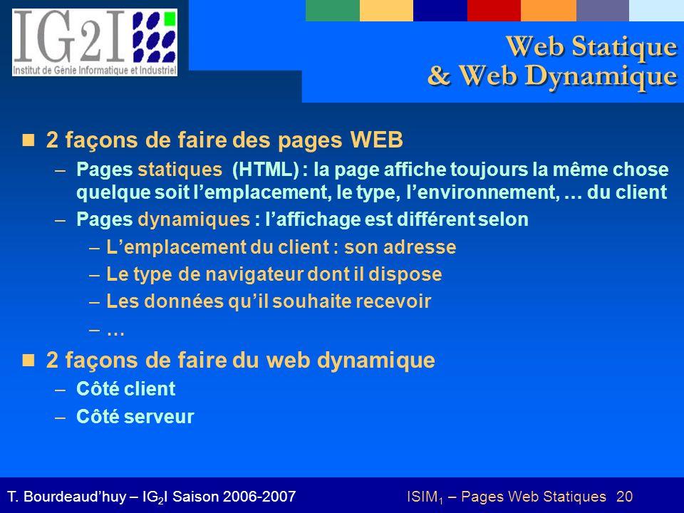 ISIM 1 – Pages Web Statiques 20T. Bourdeaudhuy – IG 2 I Saison 2006-2007 Web Statique & Web Dynamique 2 façons de faire des pages WEB –Pages statiques