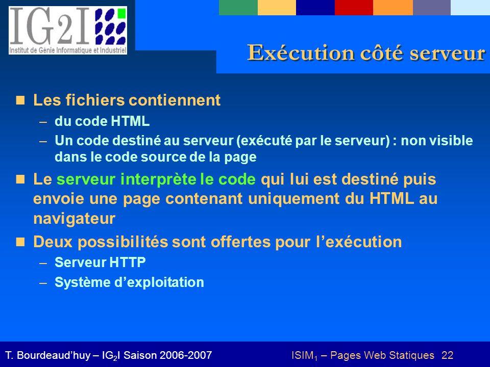 ISIM 1 – Pages Web Statiques 22T. Bourdeaudhuy – IG 2 I Saison 2006-2007 Exécution côté serveur Les fichiers contiennent –du code HTML –Un code destin