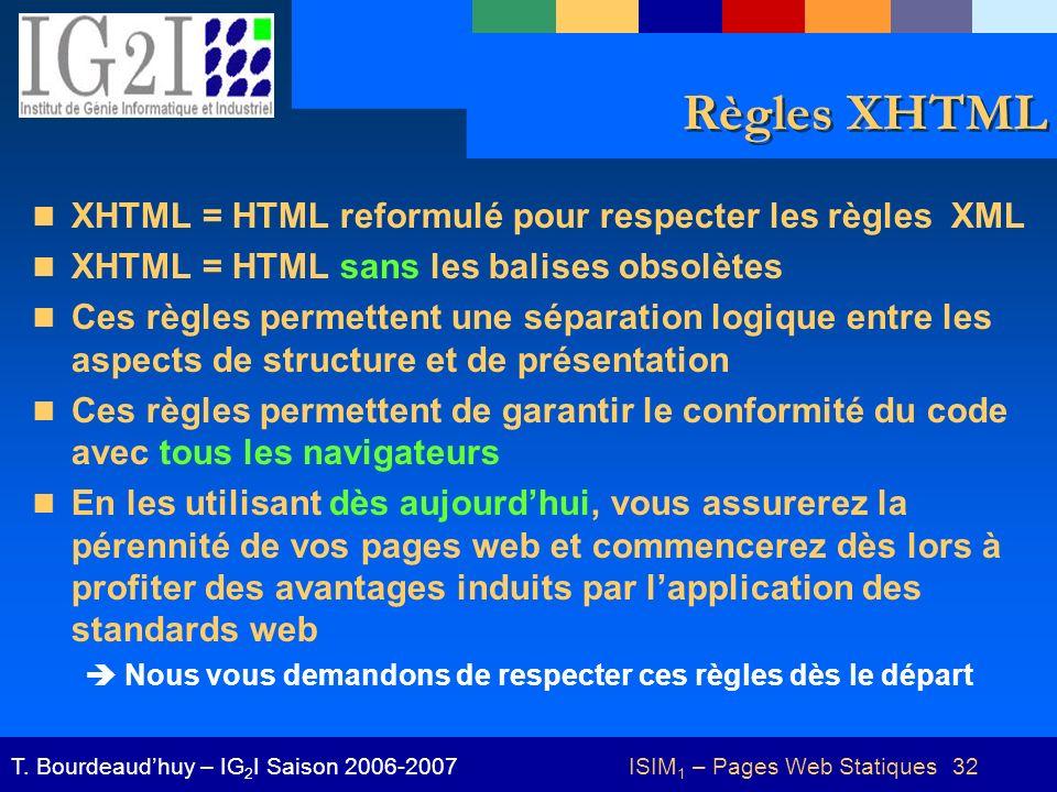 ISIM 1 – Pages Web Statiques 32T. Bourdeaudhuy – IG 2 I Saison 2006-2007 Règles XHTML XHTML = HTML reformulé pour respecter les règles XML XHTML = HTM