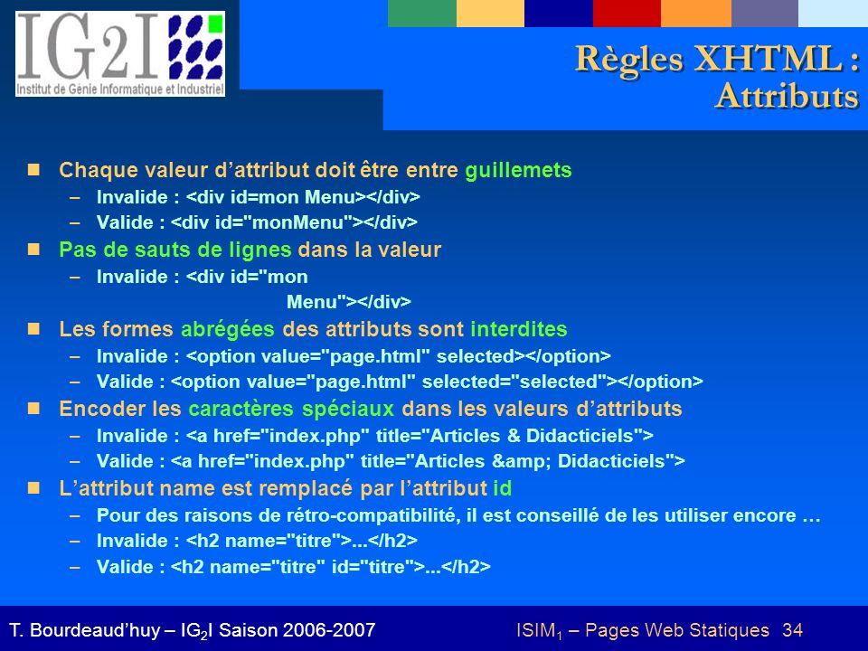 ISIM 1 – Pages Web Statiques 34T. Bourdeaudhuy – IG 2 I Saison 2006-2007 Règles XHTML : Attributs Chaque valeur dattribut doit être entre guillemets –