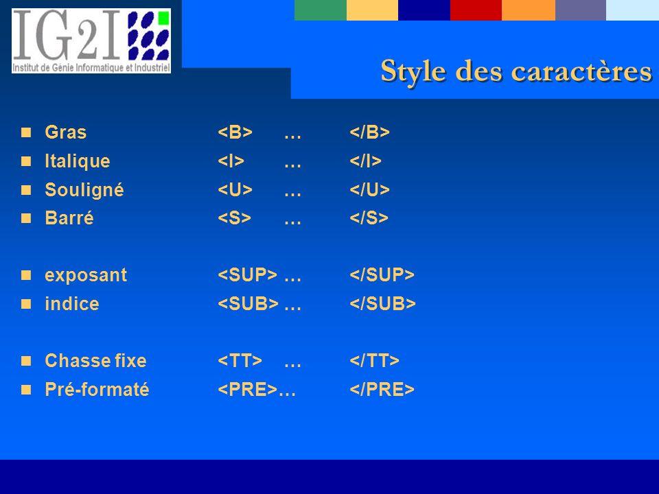 Style des caractères Gras … Italique … Souligné … Barré … exposant … indice … Chasse fixe … Pré-formaté …