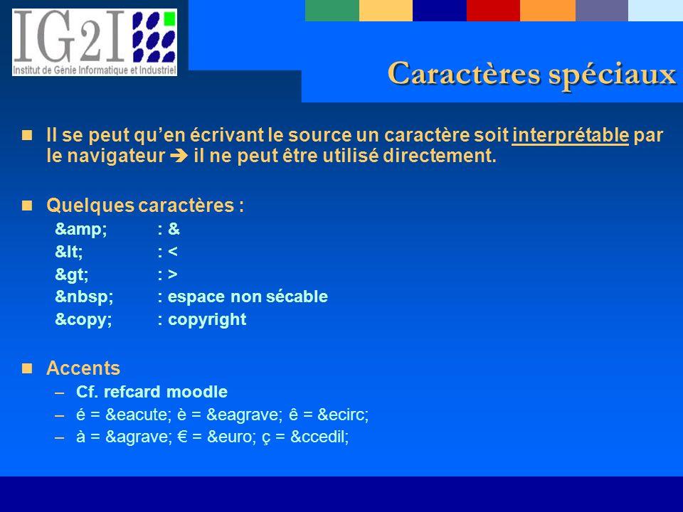Caractères spéciaux Il se peut quen écrivant le source un caractère soit interprétable par le navigateur il ne peut être utilisé directement. Quelques