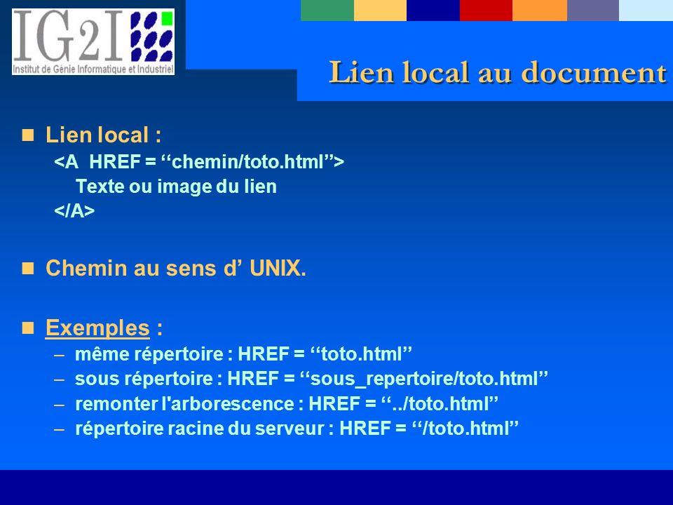 Lien local au document Lien local : Texte ou image du lien Chemin au sens d UNIX. Exemples : –même répertoire : HREF = toto.html –sous répertoire : HR