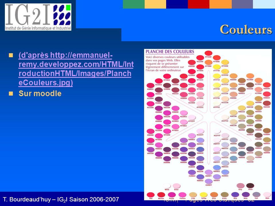 ISIM 1 – Pages Web Statiques 52T. Bourdeaudhuy – IG 2 I Saison 2006-2007 Couleurs (d'après http://emmanuel- remy.developpez.com/HTML/Int roductionHTML