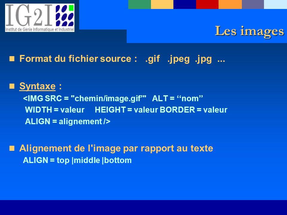 Les images Format du fichier source :.gif.jpeg.jpg... Syntaxe : <IMG SRC =