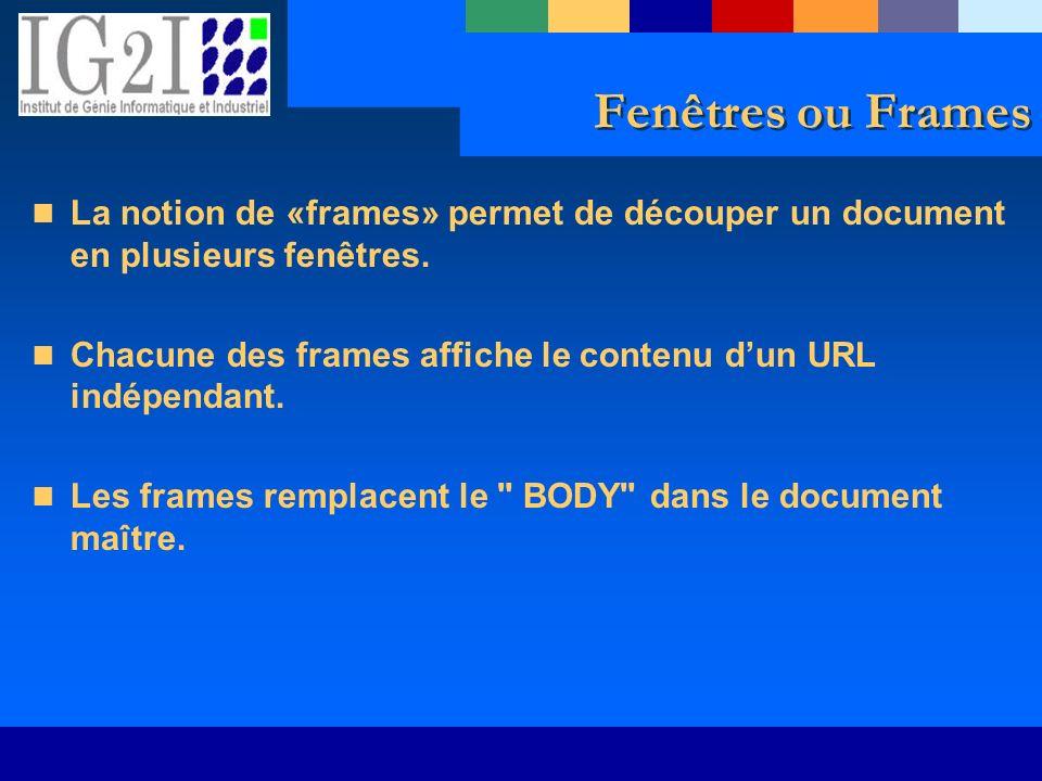 Fenêtres ou Frames La notion de «frames» permet de découper un document en plusieurs fenêtres. Chacune des frames affiche le contenu dun URL indépenda