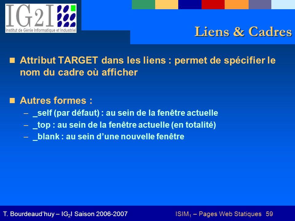 ISIM 1 – Pages Web Statiques 59T. Bourdeaudhuy – IG 2 I Saison 2006-2007 Liens & Cadres Attribut TARGET dans les liens : permet de spécifier le nom du