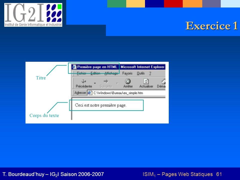 ISIM 1 – Pages Web Statiques 61T. Bourdeaudhuy – IG 2 I Saison 2006-2007 Exercice 1