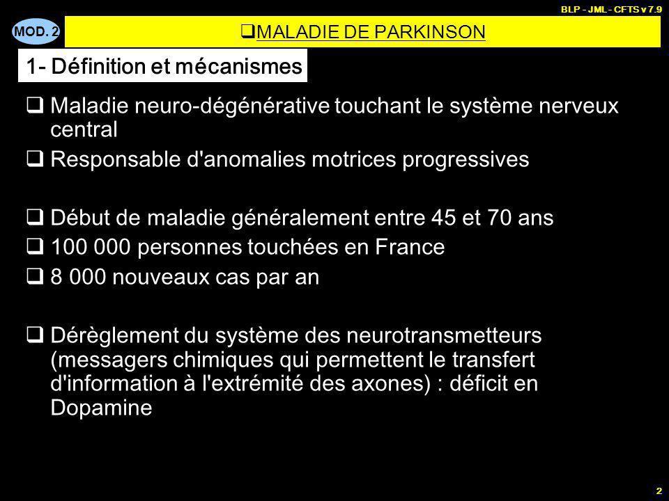 MOD. 2 BLP - JML - CFTS v 7.9 2 Maladie neuro-dégénérative touchant le système nerveux central Responsable d'anomalies motrices progressives Début de
