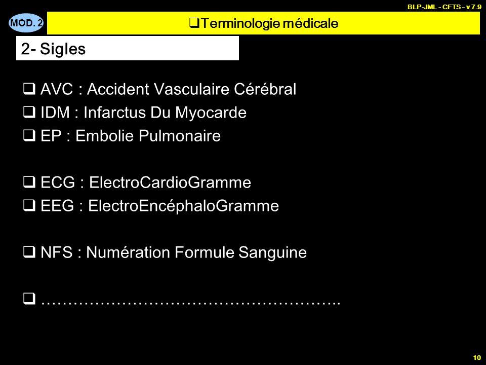 MOD. 2 BLP-JML - CFTS - v 7.9 10 Terminologie médicale 2- Sigles AVC : Accident Vasculaire Cérébral IDM : Infarctus Du Myocarde EP : Embolie Pulmonair