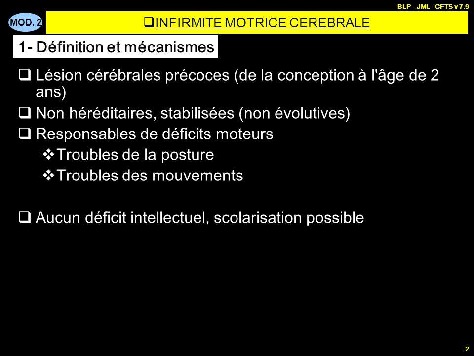 MOD. 2 BLP - JML - CFTS v 7.9 2 Lésion cérébrales précoces (de la conception à l'âge de 2 ans) Non héréditaires, stabilisées (non évolutives) Responsa