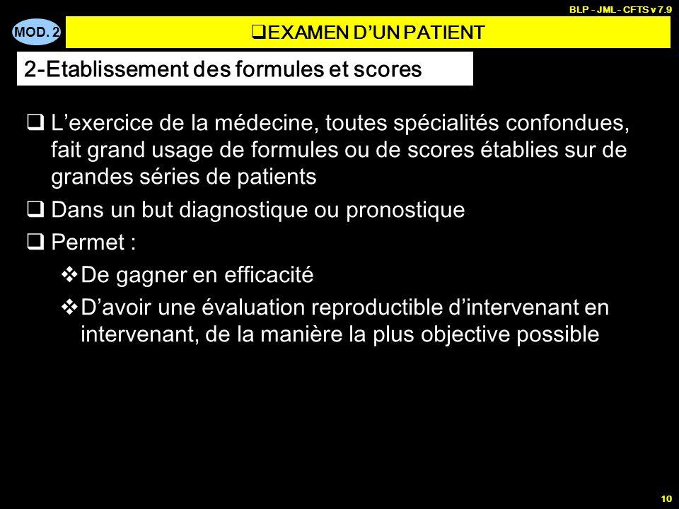 MOD. 2 BLP - JML - CFTS v 7.9 10 Lexercice de la médecine, toutes spécialités confondues, fait grand usage de formules ou de scores établies sur de gr