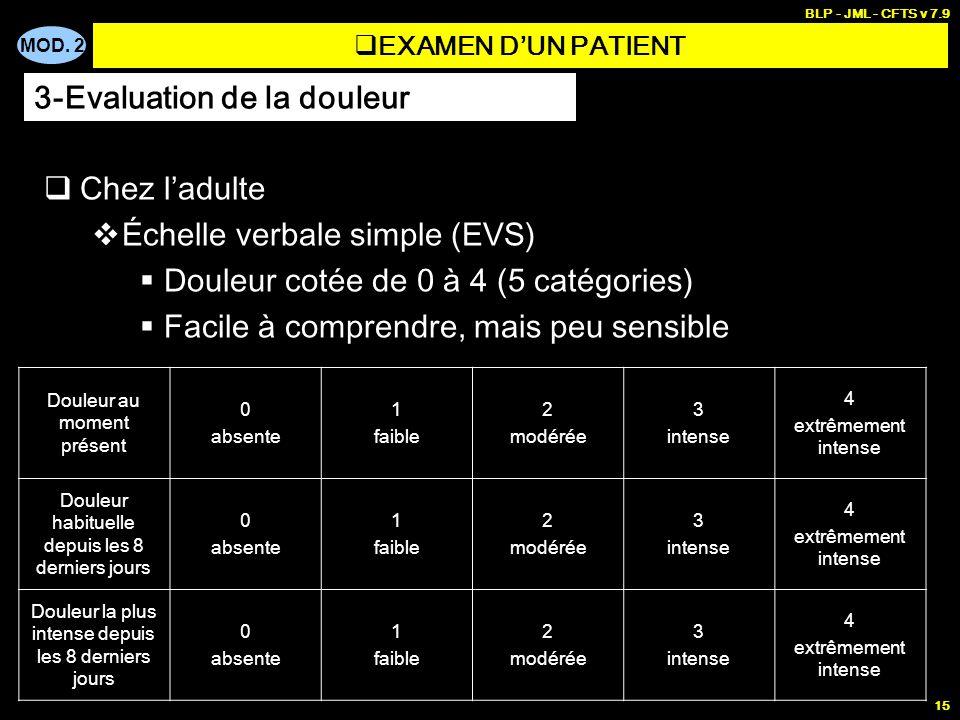 MOD. 2 BLP - JML - CFTS v 7.9 15 EXAMEN DUN PATIENT Chez ladulte Échelle verbale simple (EVS) Douleur cotée de 0 à 4 (5 catégories) Facile à comprendr