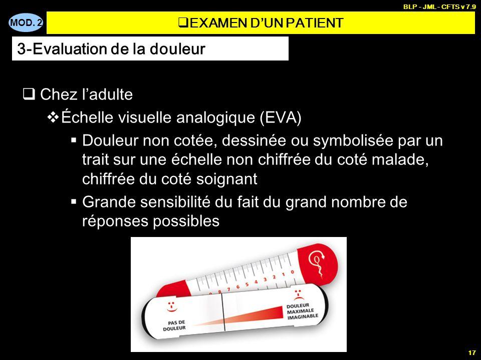 MOD. 2 BLP - JML - CFTS v 7.9 17 EXAMEN DUN PATIENT Chez ladulte Échelle visuelle analogique (EVA) Douleur non cotée, dessinée ou symbolisée par un tr