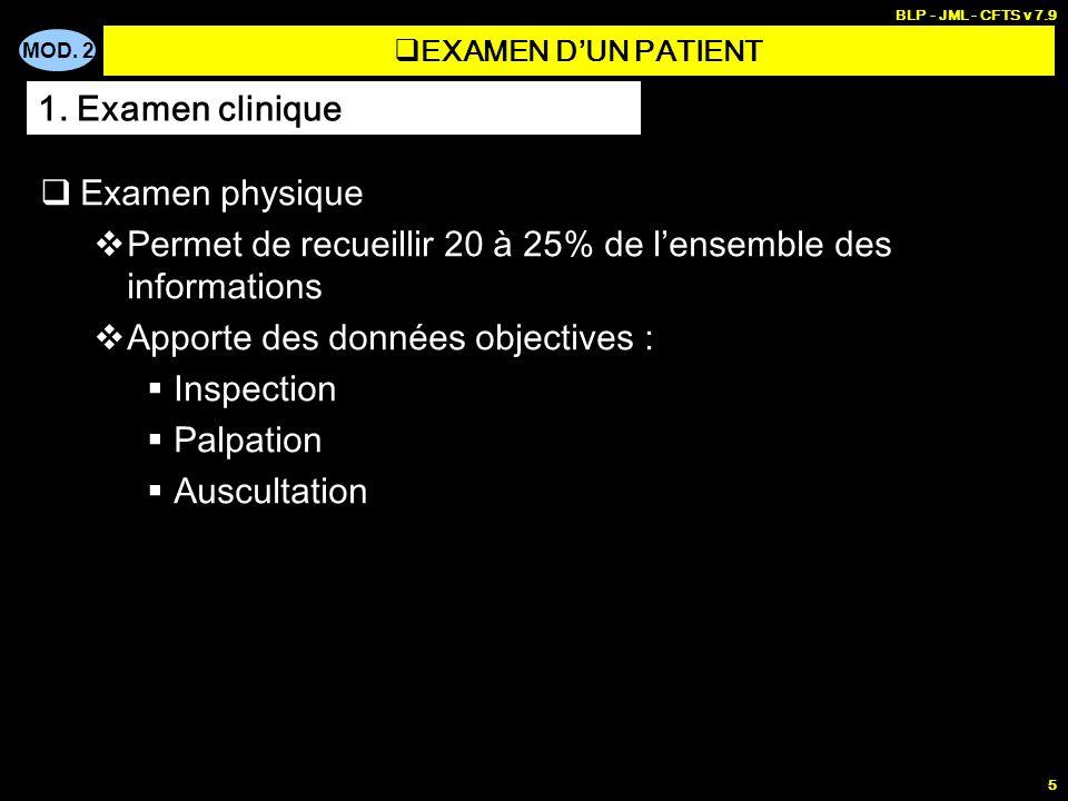 MOD. 2 BLP - JML - CFTS v 7.9 5 Examen physique Permet de recueillir 20 à 25% de lensemble des informations Apporte des données objectives : Inspectio
