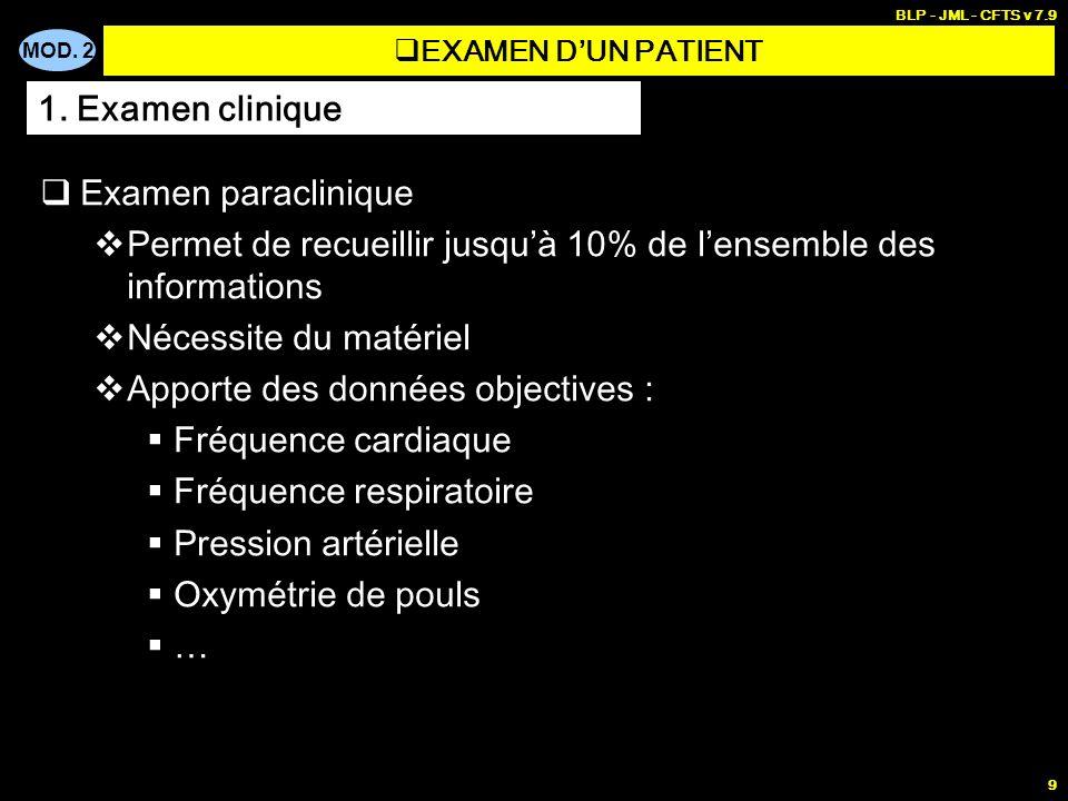 MOD. 2 BLP - JML - CFTS v 7.9 9 Examen paraclinique Permet de recueillir jusquà 10% de lensemble des informations Nécessite du matériel Apporte des do