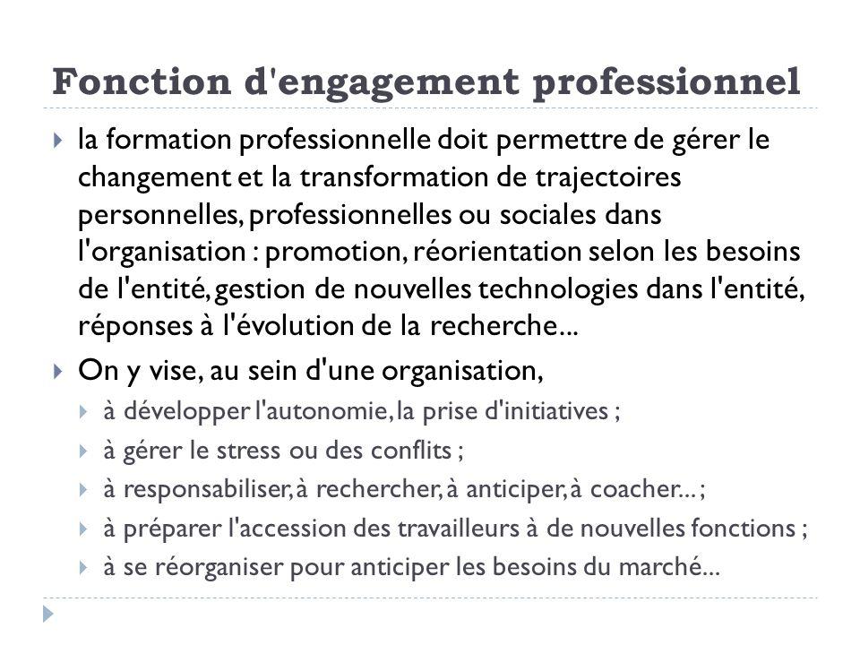 Fonction d'engagement professionnel la formation professionnelle doit permettre de gérer le changement et la transformation de trajectoires personnell