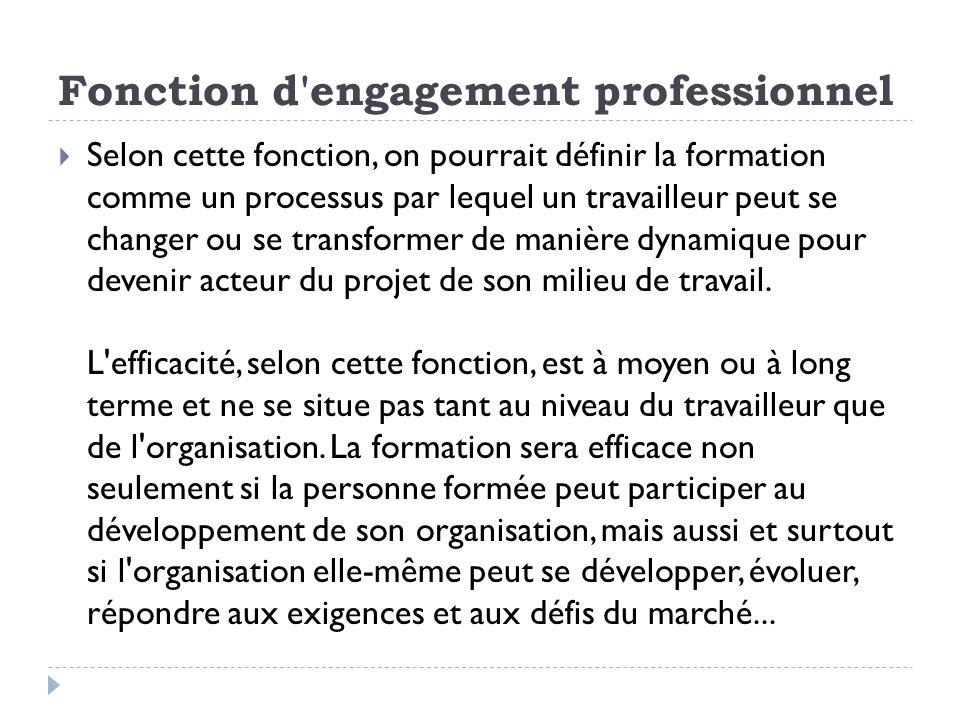 Fonction d'engagement professionnel Selon cette fonction, on pourrait définir la formation comme un processus par lequel un travailleur peut se change