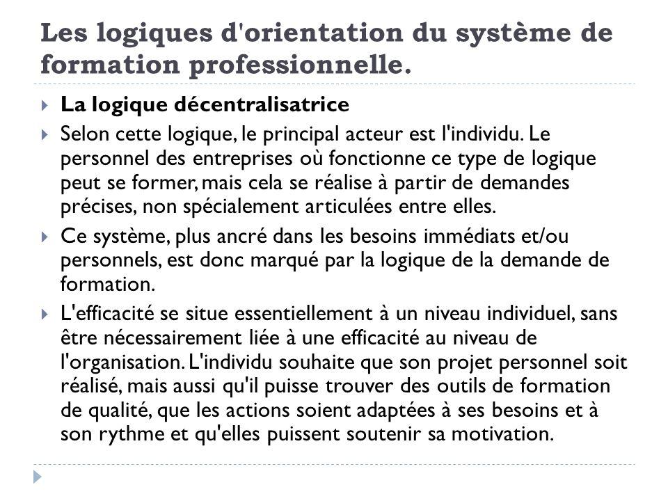 Les logiques d'orientation du système de formation professionnelle. La logique décentralisatrice Selon cette logique, le principal acteur est l'indivi