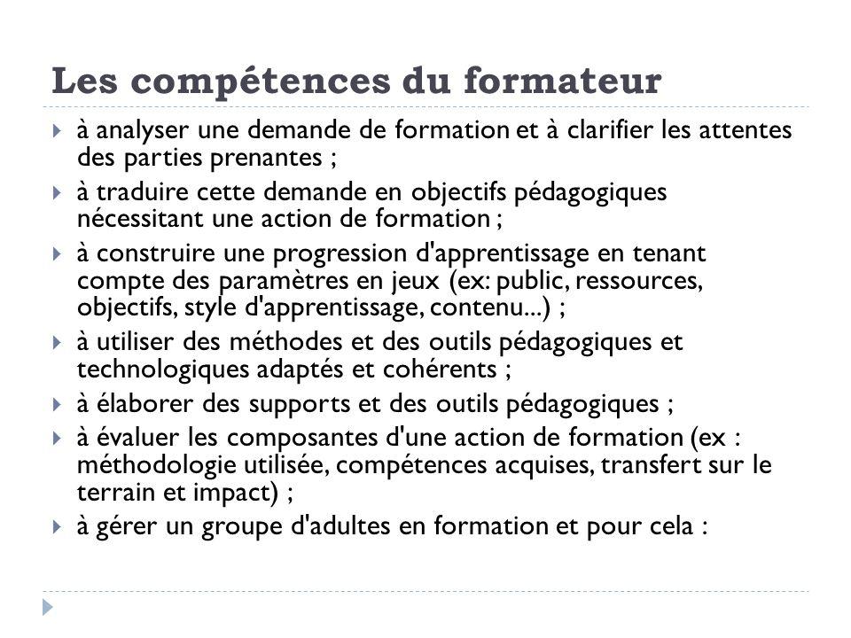 à analyser une demande de formation et à clarifier les attentes des parties prenantes ; à traduire cette demande en objectifs pédagogiques nécessitant