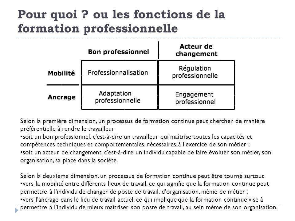 Fonction de professionnalisation Par cette fonction, la formation continue vise essentiellement le développement des capacités professionnelles orientées vers la productivité et l entraînement de compétences existantes et requises par la profession (LE BOTERF, 1991, 1992), quel que soit le lieu de travail.