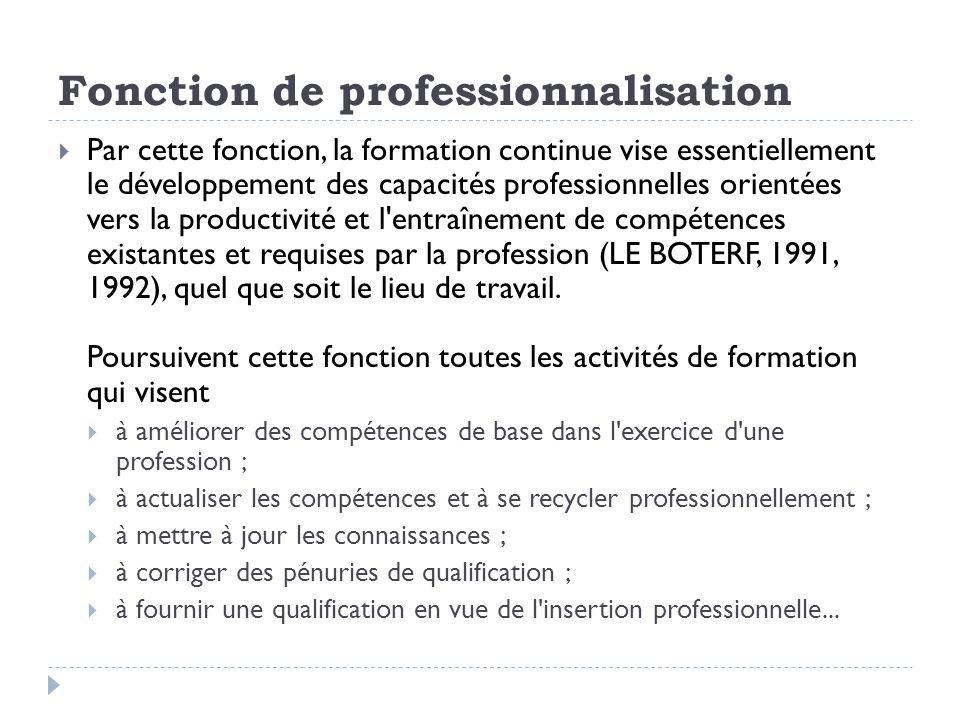 Fonction de professionnalisation Selon cette fonction, on pourrait définir la formation continue comme un processus qui permet d entretenir ou de réactualiser des capacités et compétences nécessaires à l exercice d une profession déterminée.