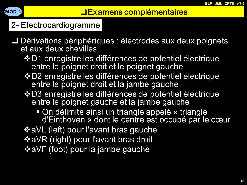 MOD. 2 BLP - JML - CFTS - v 7.9 10 Dérivations périphériques : électrodes aux deux poignets et aux deux chevilles. D1 enregistre les différences de po