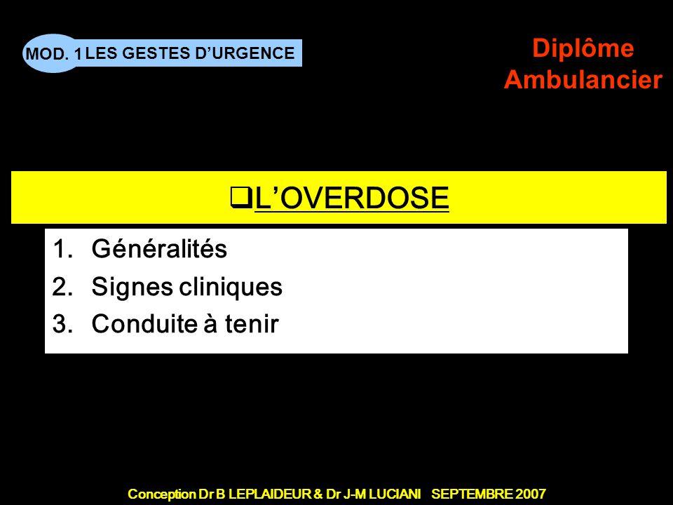Conception Dr B LEPLAIDEUR & Dr J-M LUCIANI SEPTEMBRE 2007 LES GESTES DURGENCE MOD. 1 Diplôme Ambulancier TITRE DE CHAPITRE LOVERDOSE 1.Généralités 2.