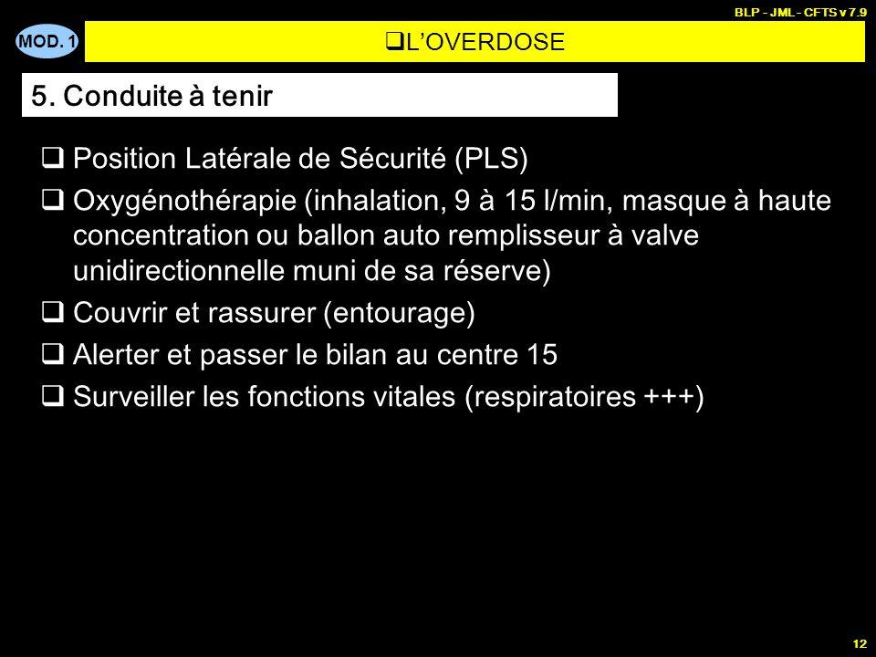 MOD. 1 BLP - JML - CFTS v 7.9 12 LOVERDOSE Position Latérale de Sécurité (PLS) Oxygénothérapie (inhalation, 9 à 15 l/min, masque à haute concentration