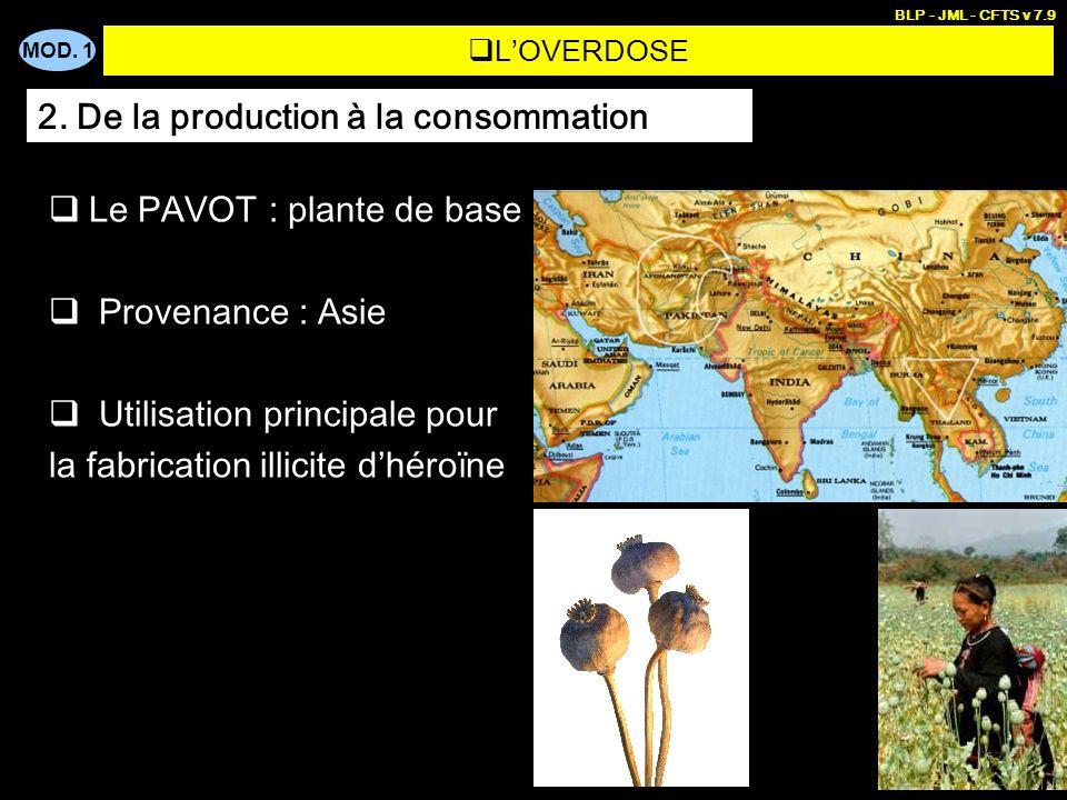 MOD. 1 BLP - JML - CFTS v 7.9 3 LOVERDOSE Le PAVOT : plante de base Provenance : Asie Utilisation principale pour la fabrication illicite dhéroïne 2.