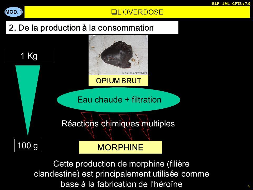 MOD. 1 BLP - JML - CFTS v 7.9 5 LOVERDOSE 2. De la production à la consommation OPIUM BRUT Eau chaude + filtration R é actions chimiques multiples MOR