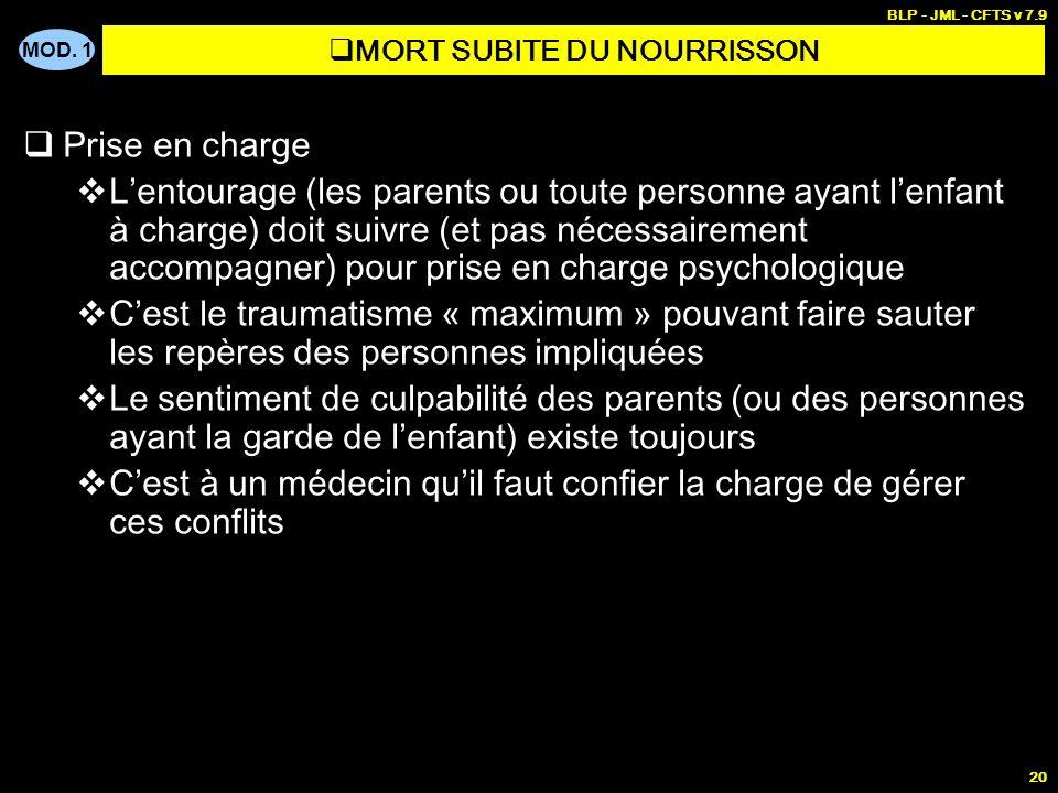 MOD. 1 BLP - JML - CFTS v 7.9 19 Prise en charge Du nourrisson et de sa famille Une fois le décès annoncé par le médecin, il est souhaitable, sils en