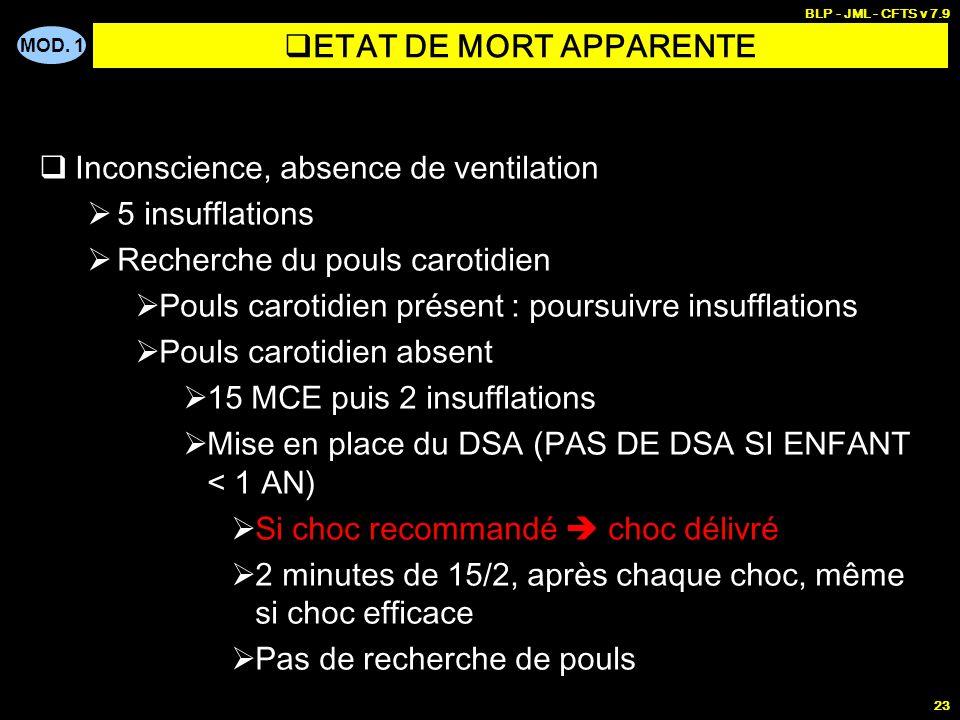 MOD. 1 BLP - JML - CFTS v 7.9 22 Critères defficacité de la ventilation et de la circulation FR < 25 / min pour BB < 1 mois FR < 16 / min pour enfant