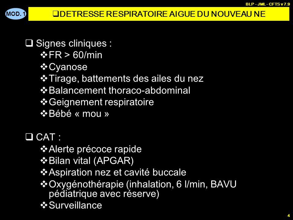 MOD. 1 BLP - JML - CFTS v 7.9 3 CAT Alerte précoce au C15 Bilan vital (conscience, FR, FC, peau) Bilan circonstanciel (maladie et traitement en cours,