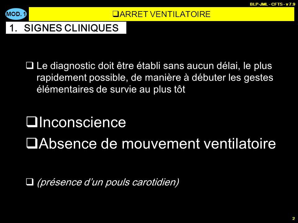 MOD. 1 BLP-JML - CFTS - v 7.9 2 Le diagnostic doit être établi sans aucun délai, le plus rapidement possible, de manière à débuter les gestes élémenta