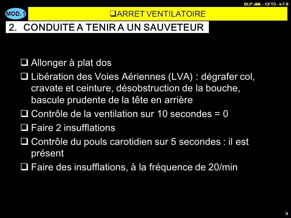 MOD. 1 BLP-JML - CFTS - v 7.9 3 Allonger à plat dos Libération des Voies Aériennes (LVA) : dégrafer col, cravate et ceinture, désobstruction de la bou