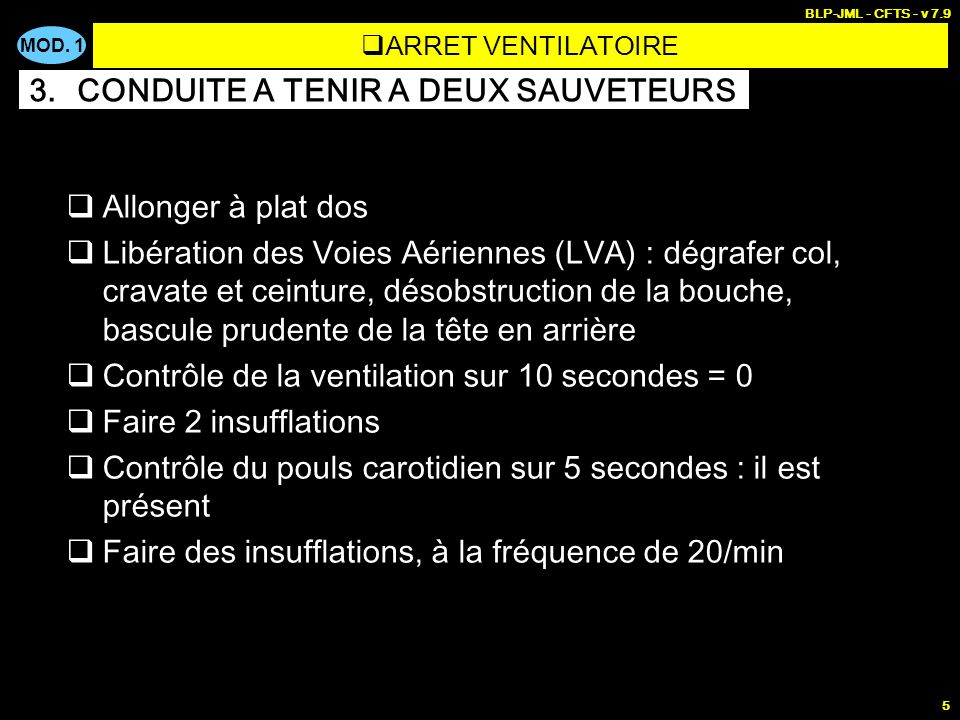 MOD. 1 BLP-JML - CFTS - v 7.9 5 Allonger à plat dos Libération des Voies Aériennes (LVA) : dégrafer col, cravate et ceinture, désobstruction de la bou